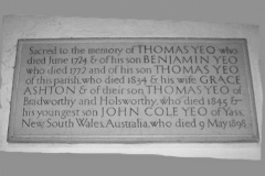 Memorial plaque in Bradworthy parish church